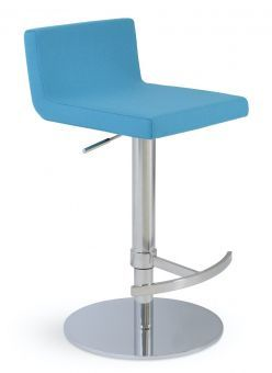 Dallas Piston Camira Blazer Wool Round Base Steel Stool, Turquoise