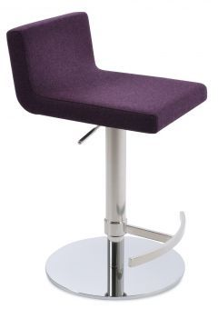 Dallas Piston Camira Blazer Wool Round Base Steel Stool, Deep Maroon