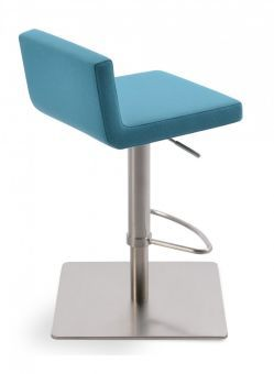 Dallas Camira Blazer Wool Piston Square Base Steel Stool, Turquoise