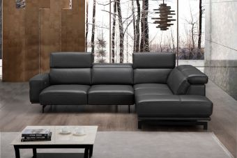 ✅ Davenport Leather Sectional Slate Grey In Right Hand Facing Chaise | VivaSalotti.com | pic1