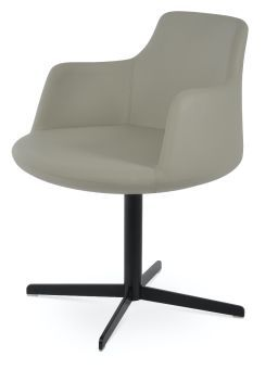 Dervish 4 Star Leatherette Swivel Dining Chair w/Metal Base, Light Grey