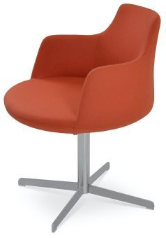 Dervish 4 Star Camira Blazer Wool Swivel Dining Chair w/Metal Base, Orange