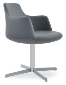Dervish 4 Star Leatherette Swivel Dining Chair w/Metal Base, Grey