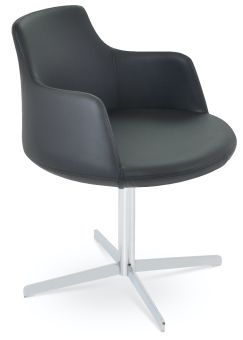 Dervish 4 Star Leatherette Swivel Dining Chair w/Metal Base, Black