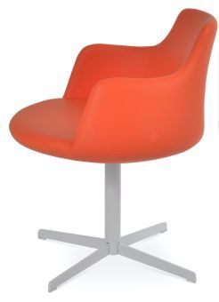 Dervish 4 Star Leatherette Swivel Dining Chair w/Metal Base, Orange