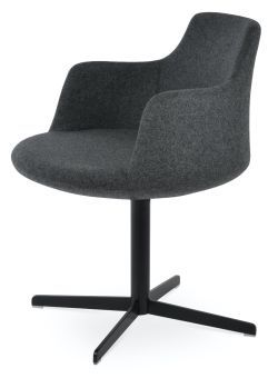 Dervish 4 Star Camira Blazer Wool Swivel Dining Chair w/Metal Base, Dark Grey