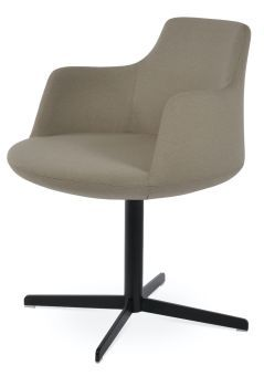 Dervish 4 Star Camira Era Fabric Swivel Dining Chair w/Metal Base, Beige