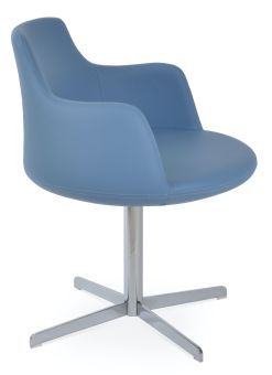 Dervish 4 Star Leatherette Swivel Dining Chair w/Metal Base, Blue