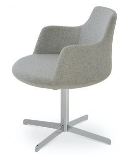 Dervish 4 Star Camira Blazer Wool Swivel Dining Chair w/Metal Base, Silver