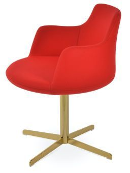 Dervish 4 Star Camira Blazer Wool Swivel Dining Chair w/Metal Base, Candy Apple Red