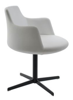 Dervish 4 Star Leatherette Swivel Dining Chair w/Metal Base, White