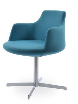 Dervish 4 Star Camira Era Fabric Swivel Dining Chair w/Metal Base, Turquoise