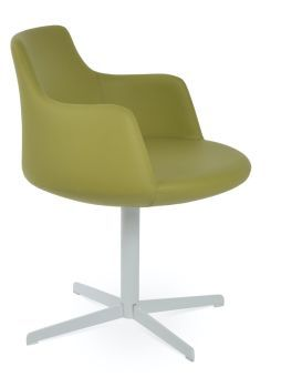 Dervish 4 Star Leatherette Swivel Dining Chair w/Metal Base, Green