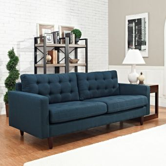 Empress Upholstered Fabric Sofa (Azure)