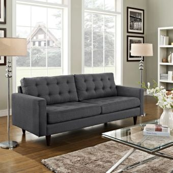 Empress Upholstered Fabric Sofa (Gray)