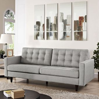 Empress Upholstered Fabric Sofa (Light Gray)
