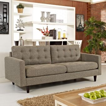 Empress Upholstered Fabric Sofa (Oatmeal)