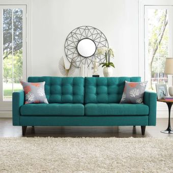 Empress Upholstered Fabric Sofa (Teal)
