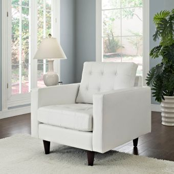 Empress Bonded Leather Armchair (White)