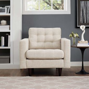 Empress Upholstered Fabric Armchair (Beige)