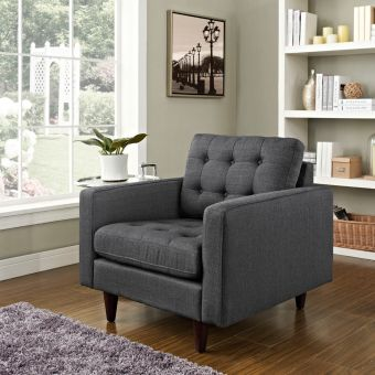 Empress Upholstered Fabric Armchair (Gray)