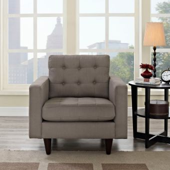 Empress Upholstered Fabric Armchair (Granite)