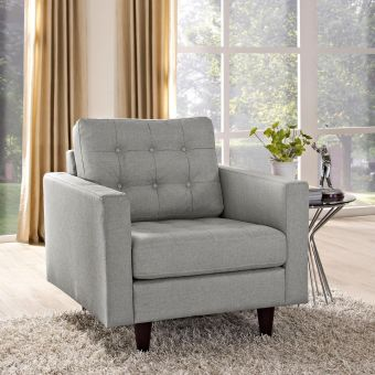 Empress Upholstered Fabric Armchair (Light Gray)