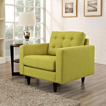Empress Upholstered Fabric Armchair (Wheatgrass)