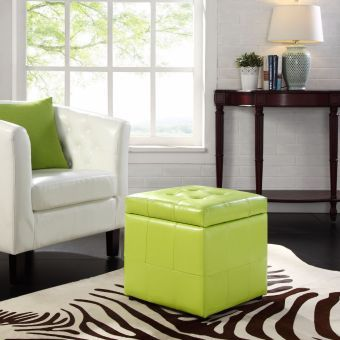 Volt Storage Upholstered Vinyl Ottoman (Light Green)