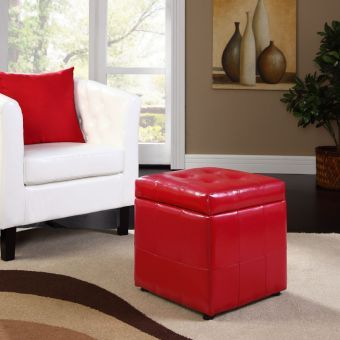 Volt Storage Upholstered Vinyl Ottoman (Red)