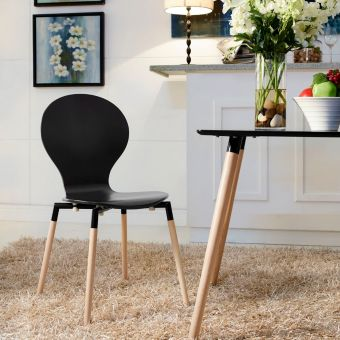 Path Dining Wood Side Chair (Black)