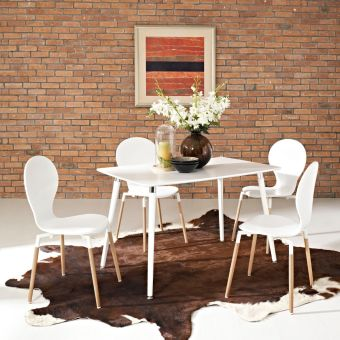Lode Rectangle Wood Dining Table (White)