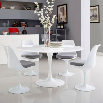 "Lippa 54"" Round Wood Top Dining Table (White)"