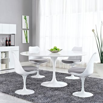 "Lippa 60"" Round Wood Top Dining Table (White)"