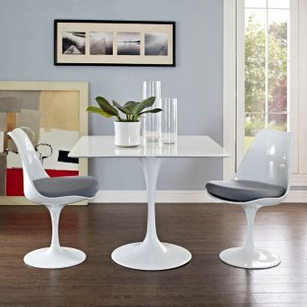 """Lippa 36"""" Square Wood Top Dining Table (White)"""