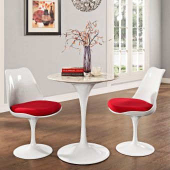 "Lippa 28"" Round Artificial Marble Dining Table (White)"