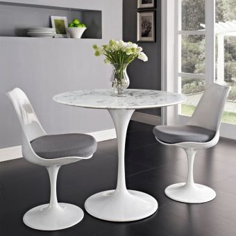"Lippa 36"" Round Artificial Marble Dining Table (White)"