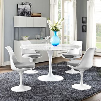 "Lippa 54"" Round Artificial Marble Dining Table (White)"
