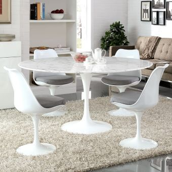 "Lippa 60"" Round Artificial Marble Dining Table (White)"
