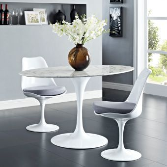 """Lippa 54"""" Oval Artificial Marble Dining Table (White)"""