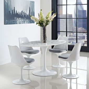 "Lippa 60"" Oval Artificial Marble Dining Table (White)"