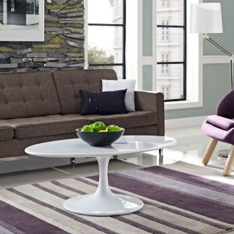 "Lippa 42"" Oval-Shaped Wood Top Coffee Table (White)"