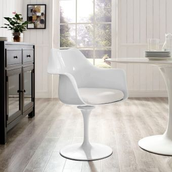 Lippa Dining Fabric Armchair (White)
