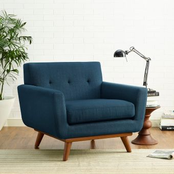 Engage Upholstered Fabric Armchair (Azure)