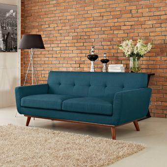 Engage Upholstered Fabric Loveseat (Azure)