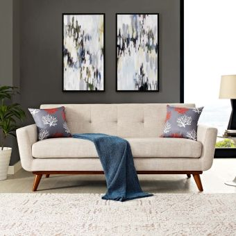 Engage Upholstered Fabric Loveseat (Beige)