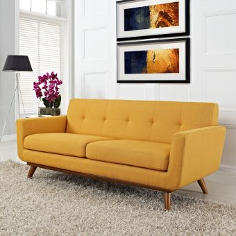 Engage Upholstered Fabric Loveseat (Citrus)