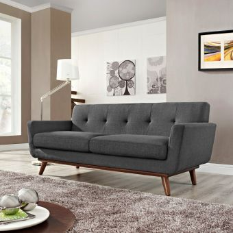 Engage Upholstered Fabric Loveseat (Gray)