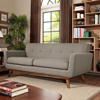 Engage Upholstered Fabric Loveseat (Granite)