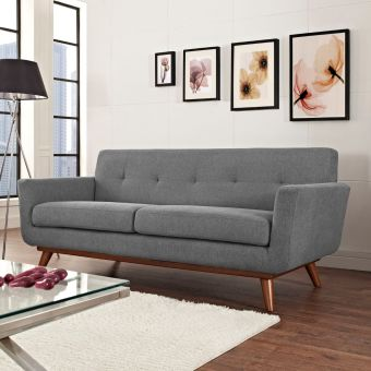 Engage Upholstered Fabric Loveseat (Expectation Gray)